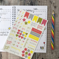 A5 63 page family prayer journal with fun illustrations on the front and back with Bright stickers