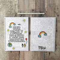 A5 63 page family prayer journal with fun illustrations on the front and back