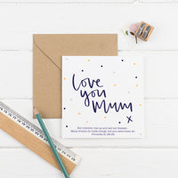 Polka dot love you mum square greeting card with kraft envelope - Proverbs 31:28-29