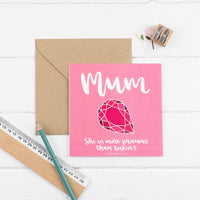 More precious than rubies card pink square card with hand drawn ruby illustration with kraft envelope