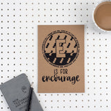 Kraft A5 Lined Christian Journal - E is for Encourage 1 Thes 5v11