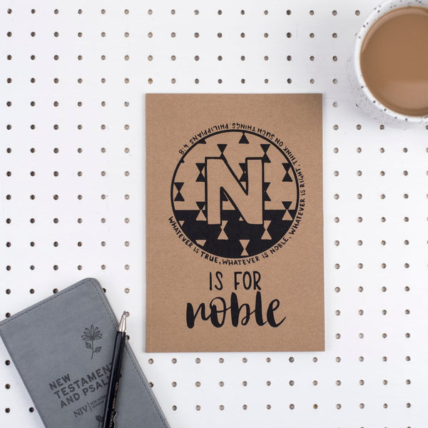 Kraft A5 Lined Christian Journal - N is for Noble Phillipians 4:8