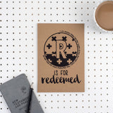 Kraft A5 Lined Christian Journal - R is for redeemed Isiah 43:1