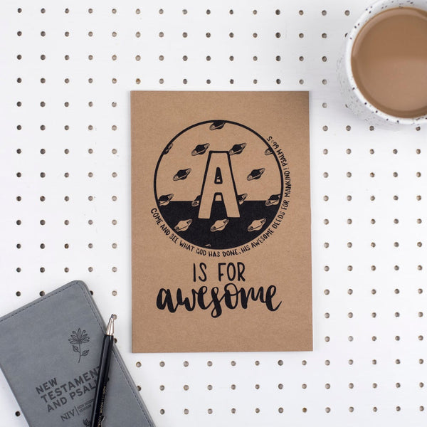 Kraft A5 lined journal - A is for Awesome Psalm 66:5