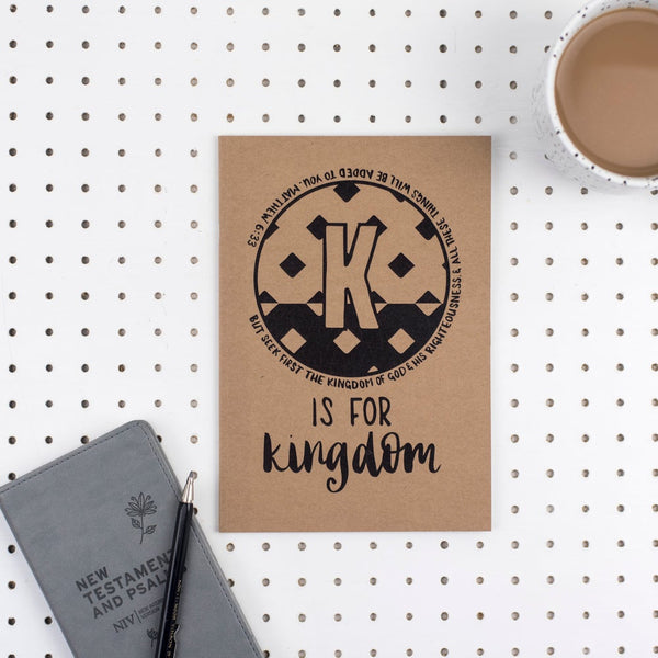 Kraft A5 Lined Christian Journal - K is for Kingdom Matthew 6:33
