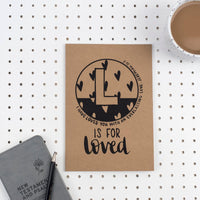 Kraft A5 Lined Christian Journal - L is for loved Jeremiah 31:3