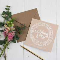 Contemporary mink coloured wedding joy hand lettered square greeting card - Song of Solomon 3:4