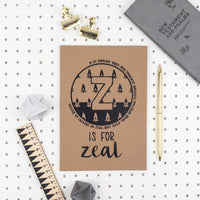 Kraft A5 Lined Christian Journal - Z is for zeal Romans 12:11