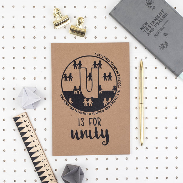 Kraft A5 Lined Christian Journal - U is for unity Psalm 133:1