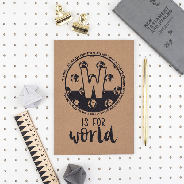 Kraft A5 Lined Christian Journal - W is for world John 3:16