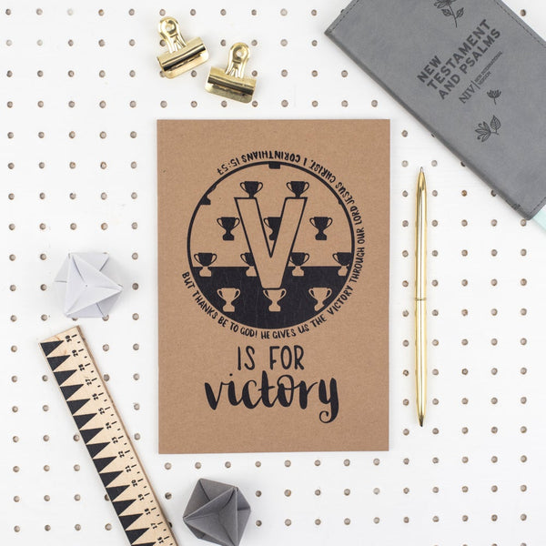 Kraft A5 Lined Christian Journal - V is for victory Corinthians 15:57