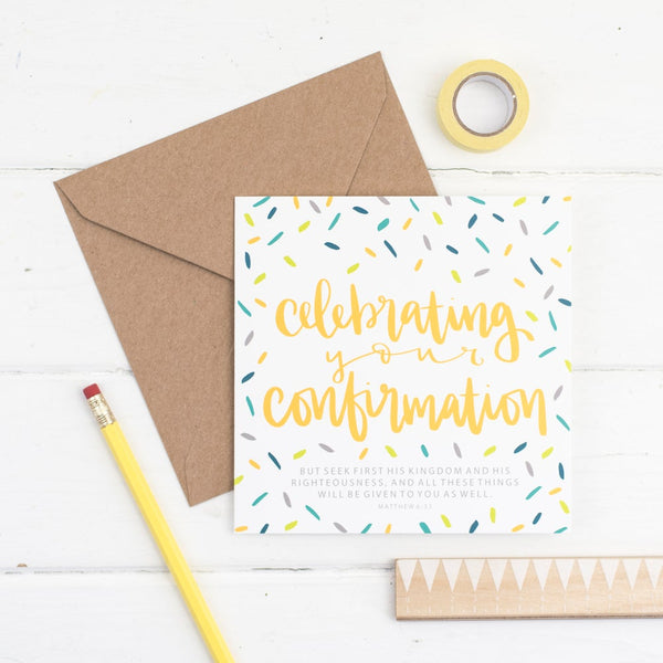 Celebrating your confirmation square greetings card - contemporary hand lettered with kraft envelope