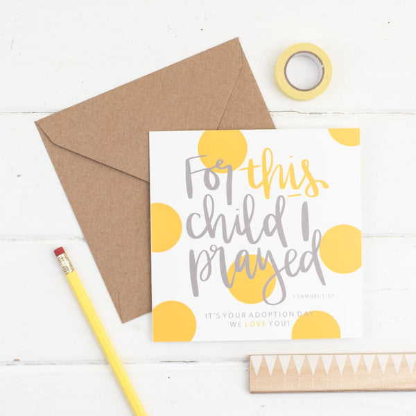 For this child i prayed polka dot square card with kraft envelope