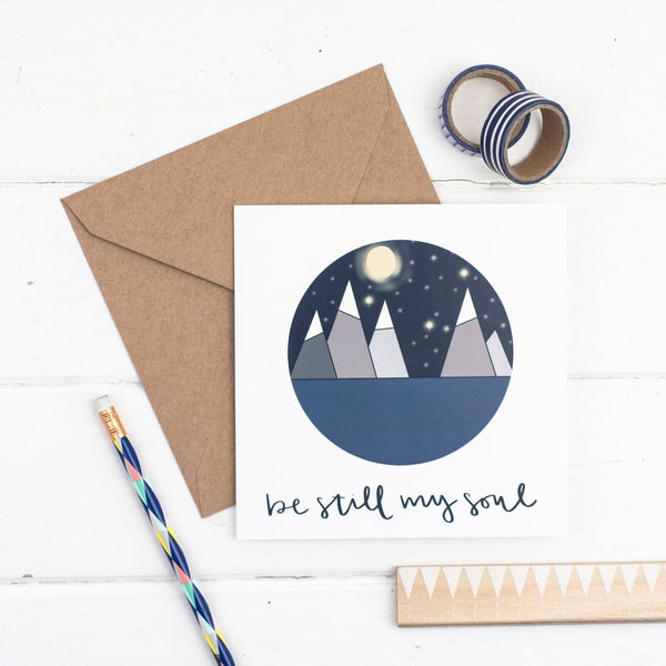 Be still my soul square greetings card - circular illustrated scene with  kraft envelope