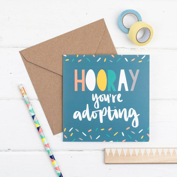Hooray you're adopting square greetings card - hand drawn confetti illustration with kraft envelope