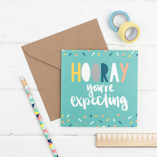 Hooray you're expecting square greetings card - hand drawn confetti illustration with kraft envelope
