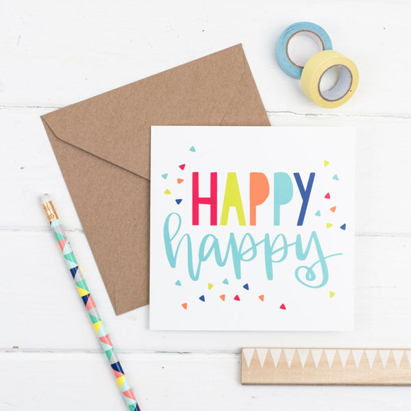 Happy happy square greetings card - primary colours with kraft envelope