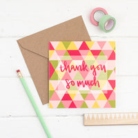 Brightly coloured geometric shape hand lettered square thank you greeting card