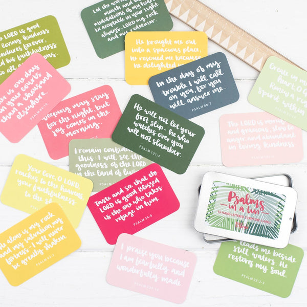 15 85x55mm hand lettered scripture cards in pinks and greens with verses from the psalms in a lovely slide-top tin