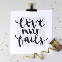Love never fails (1 Corinthians 13)