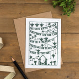 Folk style hand-drawn Christmas card in a muted green printed on luxurious matte recycled card with scripture and charming illustrations