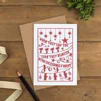 Folk style hand-drawn Christmas card in a muted red printed on luxurious matte recycled card with scripture and charming illustrations