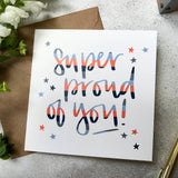 Super proud of you square greeting card - contemporary stripes in blue orange and grey with star illustrations