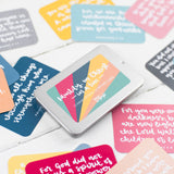 15 brightly coloured hand lettered scripture cards with encouraging scriptures and presented in a lovely slide-top tin