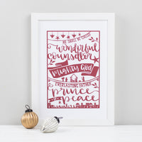 Festive print printed with a hand-drawn paper cut style design in red on white featuring the beautiful words of Isaiah 9:6