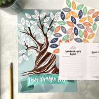 A4 Lent Prayer Tree poster, A5 sheet of colourful stickers and A6 prayer guide booklet