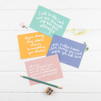 Pastel coloured pack of 4 prayer postcards