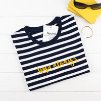 Ladies t-shirt with navy blue and white stripe with the words 'Hope Always' printed on it in yellow flock.