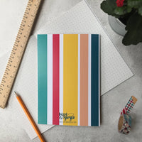 sSweet striped back of notebook in a  pretty colour palette