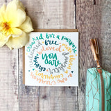 Identity in christ square greetings card - hand lettered circular design with kraft envelope