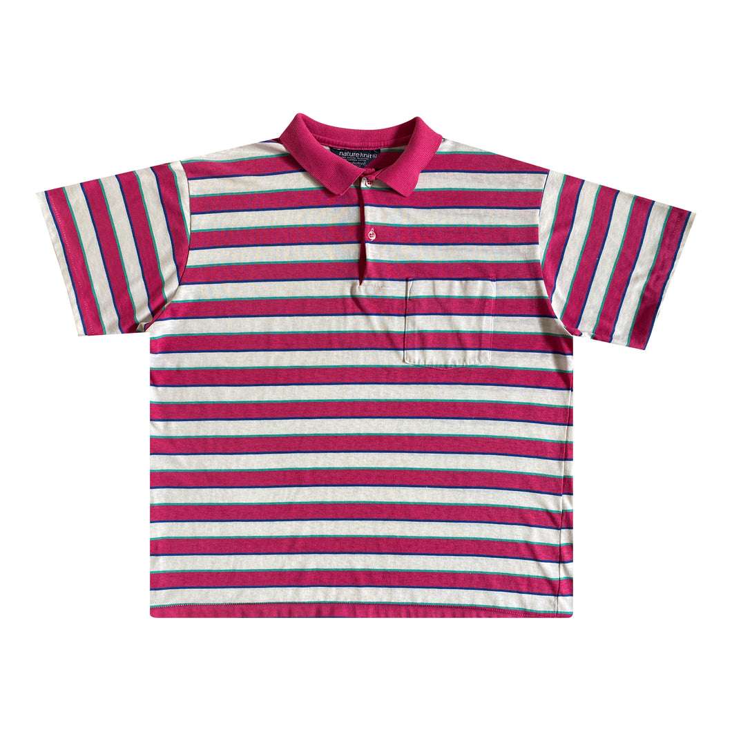 Nature Knit Striped Cotton Jersey Pocket Polo (XL)