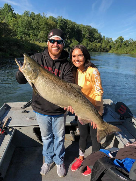 Young couple's successful King Salmon catch on the Manistee River