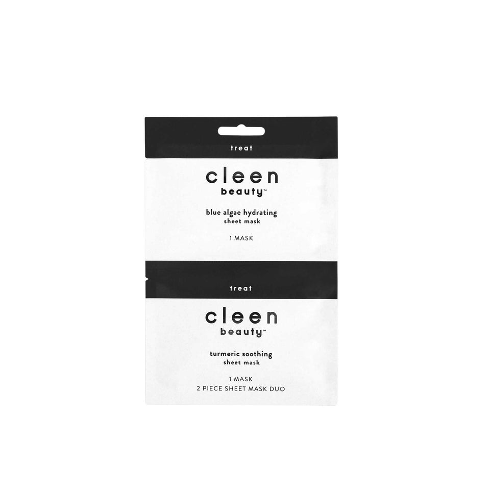 cleen beauty™ Blue Algae Hydrating and Turmeric Soothing Duo Sheet Masks