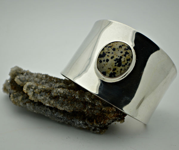 Super Wide Dalmation Jasper cuff