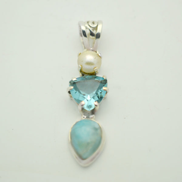 Pearl, Blue Topaz and Larimar