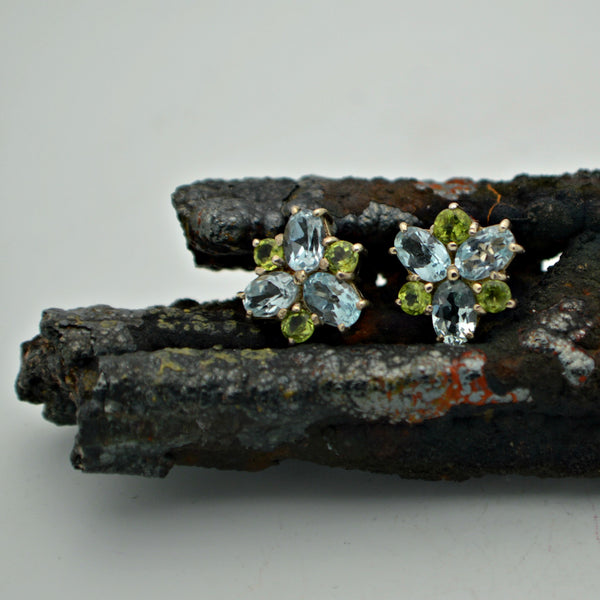 Peridot and Blue Topaz Studs