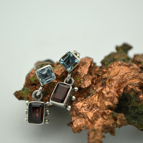 Blue Topaz and Garnet
