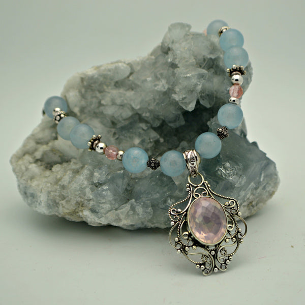Rose Quartz & Blue Chalcedony One of a kind