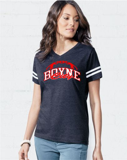 Ladies' V-Neck Football Fine Jersey Tee / LA076