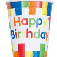 Building Blocks Birthday 9oz Paper Cups 8ct