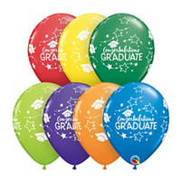 "11"" CONGRATS GRAD STARS LATEX ASSORTED"