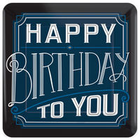 Happy Birthday Man Square Plates, 10""