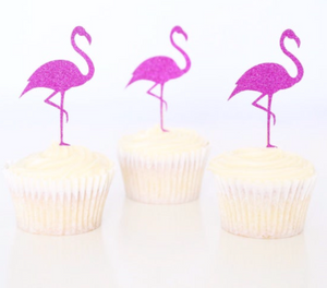 DIAMOND FLAMINGO CUPCAKE PICKS