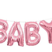 Pink Baby Shower Letter Balloon Banner