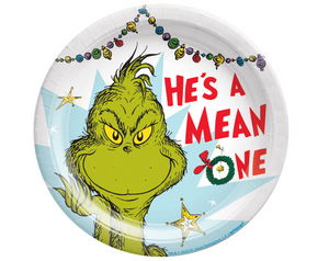 "Traditional Grinch 7"" Round Plate - Mean One"