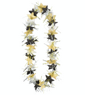 Tinsel & Flower Lei - Black, Silver & Gold